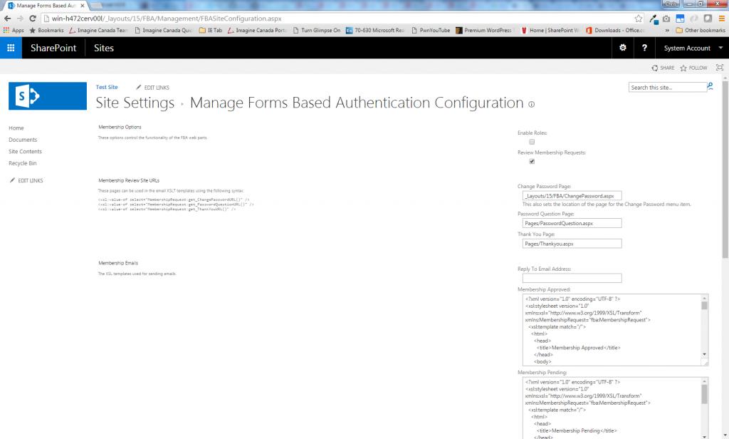 FBA Site Configuration