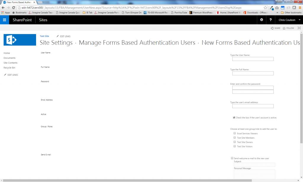 FBA User Management New User