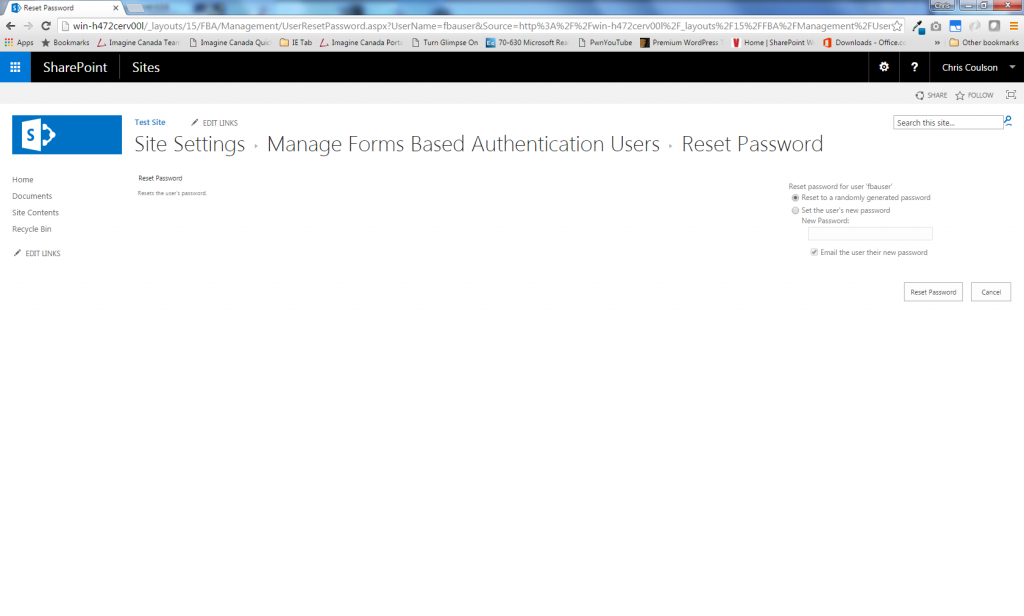 FBA User Management Reset Password